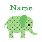 Cute Personalized Green Elephant