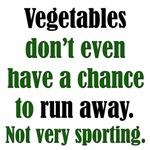 Veggies Run Away: Funny Pro-Meat T-Shirts & Gifts