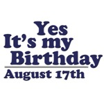 August 17th Birthday T-Shirts & Gifts