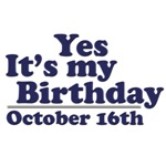 October 16th Birthday T-Shirts & Gifts