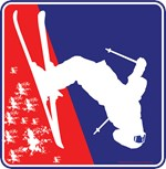 Red White and Blue Skier