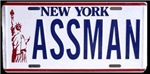 From your favorite Jerry Seinfeld TV show comes the ASSMAN licenseplate t-shirt and gifts.