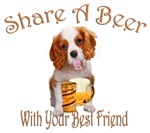 Cavalier King Charles Shares A Beer