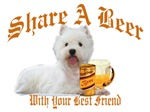 White West Highland Terrier Shares Beer