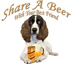 English Springer Spaniel Shares a Beer