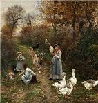 Vintage Painting of Ladies and Geese