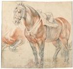 Vintage Drawing of Saddled Horse