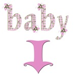 Baby spelled out pink arrow