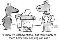 Dogs shredding homework