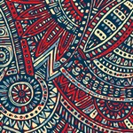 Red Blue Abstract Floral