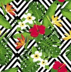 Tropical Floral Pattern Hibiscus Monstera