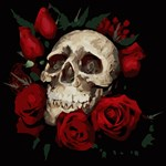 Skull With Red Roses Floral