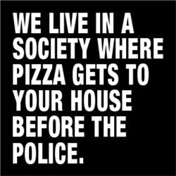 We live in society where pizza gets to your house