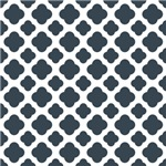 Charcoal and White Quatrefoil Pattern