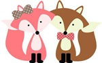 Cute Pink and Brown Foxes