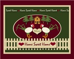 Folk Art Home Sweet Home Primitive Chickens Rooste