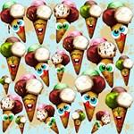 Ice Cream Cones Cartoon Pattern