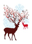 Christmas deer with tree and birds