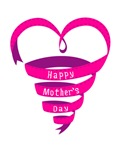 Happy Mothers day, pink heart ribbon