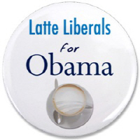 Latte Liberals for Obama Buttons and Magnets