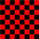 Bright red and black checkerboard