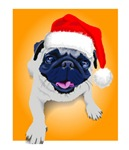 Pug gifts. Cute Pug with a santa hat