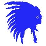 Blue Indian Headdress Outline