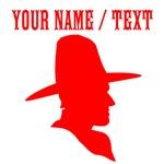 Custom Red Cowboy Silhouette