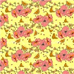 Pretty Pink on Yellow Flowers and Butterflies Patt