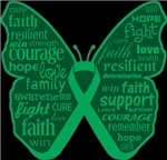 Liver Cancer Butterfly Collage of Words Shirts