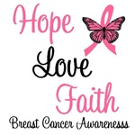 Hope, Love & Faith Breast Cancer T-Shirts