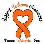 Support Leukemia Awareness Heart Ribbon T-Shirts &