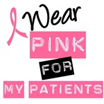 I Wear Pink Ribbon For My Patients Label T-Shirts