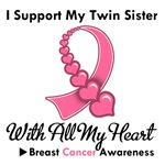 Breast Cancer I Support My Twin Sister T-Shirts