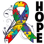 Hope Floral Ribbon Autism Shirts and Gifts