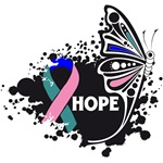 Hope Grunge Butterfly Thyroid Cancer Shirts