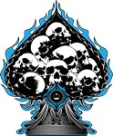 Blue Flaming Spade with Skulls