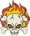 Flaming Skull and Crossbones