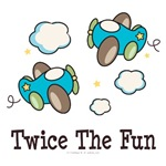Twice The Fun Airplane Twin Boys Gift and Apparel