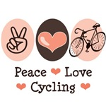 Our Peace Love Cycling design on cycling tee shirts, clothes and more bicycle lover gifts make great presents for a cyclist who rides his bike for pleasure or sport.