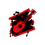 red generic acoustic guitar