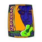 purple orange guitar n face music design