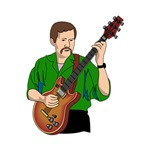 semi hollow guitar player green