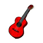 acoustic guitar red