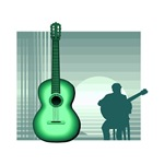 acoustic guitar player sitting