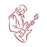 guitarist outline red male
