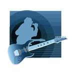 singer guitar invert blue musical