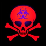 Red Biohazard Skull & Crossbones