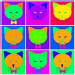 Pop Art Cartoon Cats