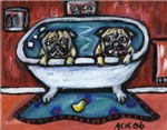PUG pugs red bathroom